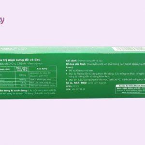 Hình ảnh mặt sau hộp sản phẩm Acnes Medical Cream