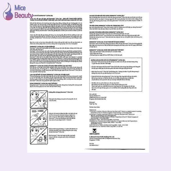 Tờ hướng dẫn sử dụng Dermatix Ultra Gel