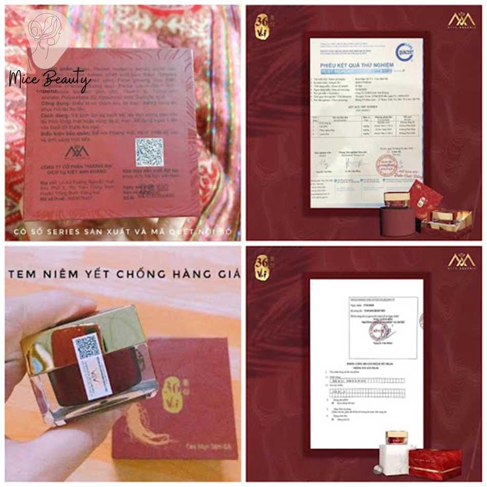 Giấy chứng nhận an toàn và tem niêm yết chống hàng giả của sản phẩm Cao sâm đỏ trị mụn