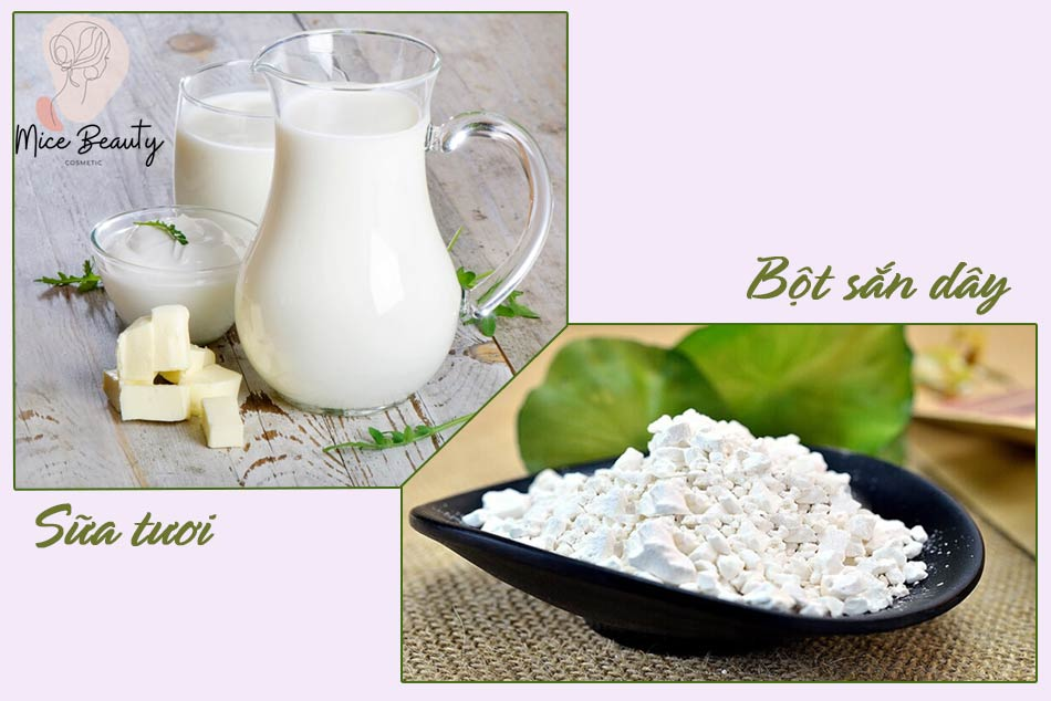 Đắp mặt nạ bột sắn dây với sữa tươi trị mụn và nám