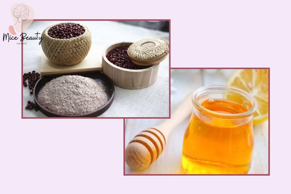 Đắp mặt nạ bột đậu đỏ với mật ong trị mụn trứng cá