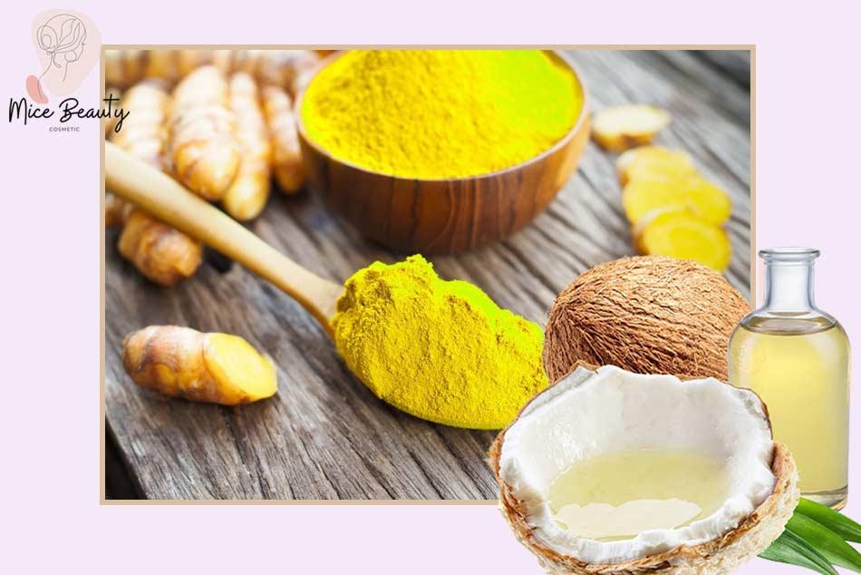 Kết hợp dầu dừa với tinh bột nghệ