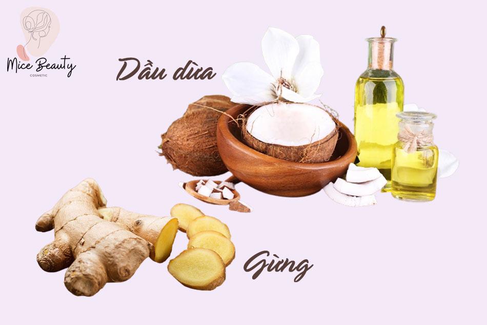 Trị sẹo thâm bằng dầu dừa kết hợp với gừng