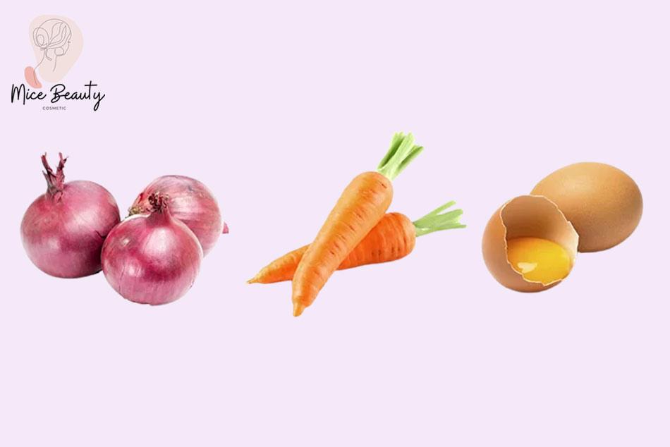 Công thức trị mụn ẩn bằng hành tây, cà rốt và lòng đỏ trứng