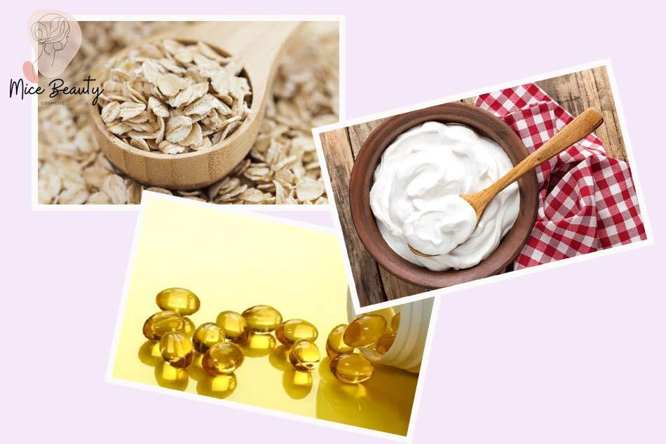 Trị sẹo lõm bằng bột yến mạch, sữa chua không đường và vitamin E