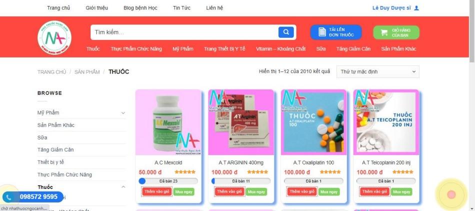 Nhà thuốc Ngọc Anh - sản phẩm đa dạng, giá cả hợp lý